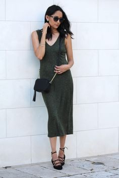 Lace-Up Flats & Olive Midi Dress - Daily Craving