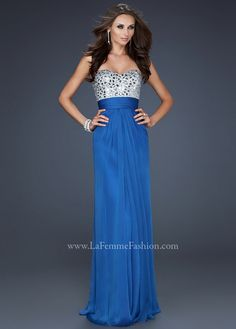 Free Shipping La Femme 17909 sapphire blue strapless jeweled homecoming dresses available now at RissyRoos.com