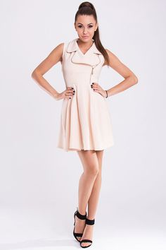 Large Collar Zip Short Dress by YNS.