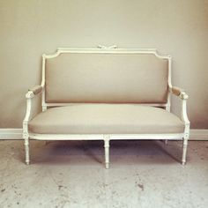 Louis XVI style antique settee recovered Lime White distressed frame & calico fabric / Frenchfinds.co.uk