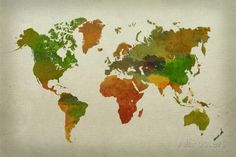 World Map Watercolor (Warm) Affiches sur AllPosters.fr