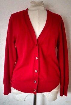 Vtg United Colors of Benetton Cardigan 48 M L 8-10 Red Wool Angora Preppy Italy #UnitedColorsofBenetton #Cardigan #Casual
