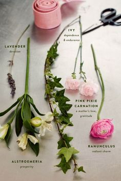 "The Language of Flowers:  Ivy ~""dependence & endurance""  Lavender ""devotion""  Pink Pixie Carnation ~""a mother's love, gratitude""  Alstroemeria ~""Prosperity""  Ranunculus~""radiant charm"""