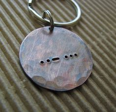 NEW  rustic copper Morse Code key chain by juliethefish on Etsy, $20.00