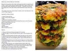 Broccoli Feta and Pine Nut Fritters