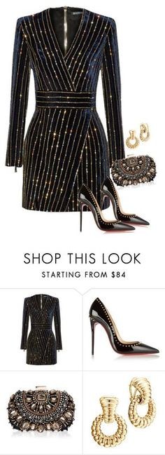 """Untitled #2595"" by carmelaromio ❤ liked on Polyvore featuring Balmain, Christian Louboutin, Lipsy and John Hardy"