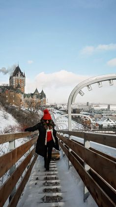 In our first getaway series for we headed up to Canada to Quebec and enjoyed some fun in this magical winter wonderland. New York Winter Outfit, Winter Travel Outfit, Winter Outfits, Winter Clothes, Cold Weather Fashion, Cold Weather Outfits, Winter Fashion, Nyc Snow, Quebec Winter