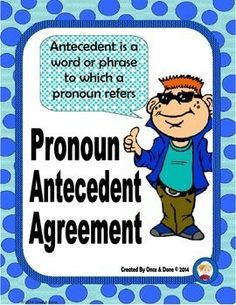 Pronoun Antecedent Agreement Center Activity for small groups or independent literacy station work during guided reading. Students read a sentence and choose the pronoun that agrees with the sentence.