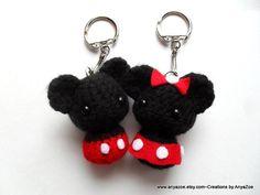Mickey and Minnie Mouse Amigurumi Keychains