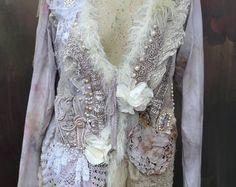 Pearl-gray jacket, cardi, L-XL , bohemian romantic, altered couture, vintage textiles
