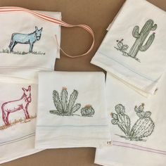 Olé...8 lovely towels shipping out. #burro #cactus #saguaro #donkey #illustrationsinthread #handmadehomegoods #naturalhome #backatit2017 Free Motion Embroidery, Machine Embroidery, Half Apron, The White Company, Dry Goods, Cotton Thread, Tea Towels, Leo, Home Goods