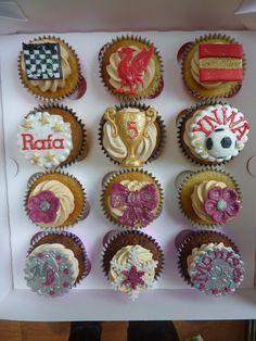 Cupcakes presented to Rafa Benitez Liverpool Football Club, Liverpool Fc, Football Cupcakes, Themed Cakes, Cupcake Cakes, Presents, Tasty, Desserts, Food
