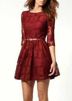 Elegant Red Round Neck Three Quarter Sleeve Holiday Dress