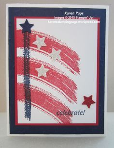 4th of July flag card made with Stampin' Up! Work of Art and And Many More stamp sets.