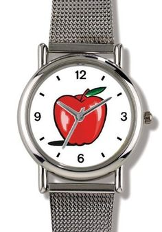 Red Apple 2 - WATCHBUDDY® ELITE Chrome-Plated Metal Alloy Watch with Metal Mesh Strap-Size-Small ( Children's Size - Boy's Size & Girl's Size ) WatchBuddy. $79.95