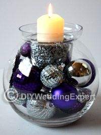 Make Christmas Decorations Into Wedding Centerpieces, (or Hanukkah decorations or back into Christmas centerpieces....lol)