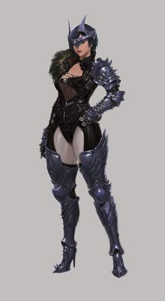 ArtStation - Astellia Work (아스텔리아 작업) 10, Changyoung jung Female Character Design, Character Concept, Character Art, Black Cartoon Characters, Female Characters, Anime Characters, Armadura Medieval, Armor Concept, Concept Art
