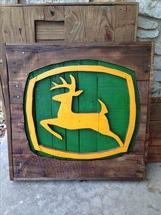 John Deere recycled pallet sign
