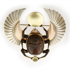 atelierentomologica:    Egyptian - Revival Art Deco hardstone and tri-coloured gold beetle brooch, c.1925, French
