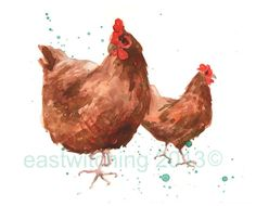 Farmhouse Decor, Chicken Painting, Chicken Print