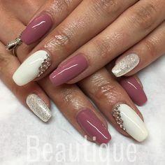 Calgel nails Nail inspo Pink nails Nude nails Glitter nails