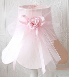 Pink Dupioni Silk Lamp Shade with Tulle Bow, Shades, Lighting for Girls