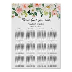 Shop Rustic Fall Floral 9 Tables Wedding Seating Chart created by OwlsomePaperie. Personalize it with photos & text or purchase as is! Floral Wedding, Fall Wedding, Wedding Colors, Rustic Wedding, Wedding Pins, Table Seating Chart, Seating Chart Wedding, Wedding Table Themes, Wedding Decorations