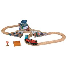 With over 30 pieces, this figure-8 train set lets you travel up, over and around the fishery! Take James over the wooden bridge, watch fish swim in the tank, and drop off the crate of fish in the cargo bin! Works with Wooden Railway engines (sold separately). Features durable paint and realistic details and elements from the TV show. Helps develop gross motor skills, sensory skills & thinking skills. For ages 3 and up.