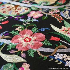 ♒ Enchanting Embroidery ♒ embroidered flowers on black