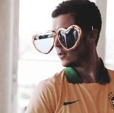 Eden Hazard! with the brazilian jersey and funny eyewears!