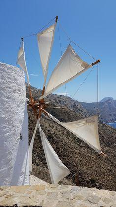 A working windmill Karpathos, Windmills, Sailing Ships, Opera House, Greece, Boat, Travel, Wind Mills, Viajes