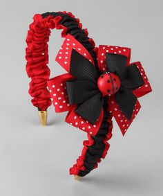 The Bow Lady Ladybug Ribbon Bow & Headband Hair Ribbons, Ribbon Bows, Ribbon Hair, Hair Bows, Handmade Hair Accessories, Girls Hair Accessories, Diy Headband, Headbands, Diy Flowers