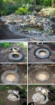 10 diy wonderful tire garden ponds on a budget inspirations freshouz com garden water pond supplies water pre molded water garden ponds Tire Pond, Tire Garden, Water Garden, Garden Water Fountains, Ponds Backyard, Backyard Landscaping, Garden Ponds, Tyres Recycle, Recycled Tires