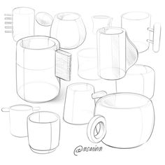 Tassen Design - Second year - Tassen Design, Pottery Painting Designs, Doodle Drawings, Drawing Sketches, Sketching, Technical Illustration, Perspective Art, Object Drawing, Industrial Design Sketch