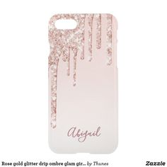Shop Rose gold glitter drip ombre glam girly name uncommon iPhone case created by Thunes. Rose Gold Ombre, Rose Gold Glitter, Ombre Background, Glitter Phone Cases, Glitter Paint, Gifts For Girls, Iphone Se, Hand Lettering, Girly