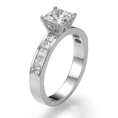 Diamond Engagement Ring with Sidestones 950 Platinum 1.53 ctw Certified Princess Cut 2/3 ct Center Stone F Color VS1 Clarity