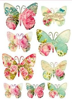 Stamperia Decoupage Rice paper with colorful butterflies, butterfly tags with pretty roses, Greetings. Vintage Butterfly, Butterfly Art, Butterflies, Decoupage Vintage, Vintage Paper, Decoupage Plates, Etiquette Vintage, Decoupage Printables, Printable Stickers