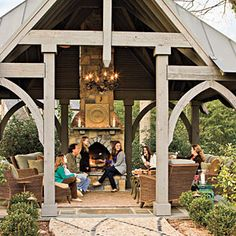Church-Inspired Pool House An entry arbor at Christ Church on St. Simons Island inspired the design of this pool house. Outdoor Living Rooms, Outside Living, Outdoor Areas, Indoor Outdoor, Outdoor Decor, Indoor Pools, Backyard Pools, Pool Decks, Pool Landscaping