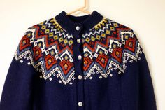 Vintage Handmade Wool Norwegian Style Button Up Navy by KLCvintage, $40.00