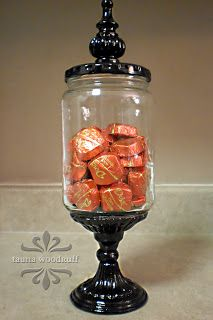 How to make apothecaries for a candy or dessert bar  with a pickle jar, candle holder, and finial. gift, apothecary jars, curtain rods, candi, jar candles, candle holders, pickl jar, candy dishes, candy jars