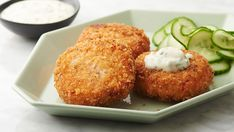 Sophisticated, quick and easy aren't three words you often find strung together, unless you're describing these sure-to-impress crispy, golden salmon cakes. The lighter, more upscale version of tartar sauce is what seals the deal.