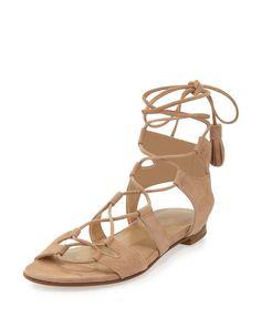 Stuart Weitzman - Romanflat Suede Flat Gladiator Sandal Flat Gladiator  Sandals 41589cf2db45