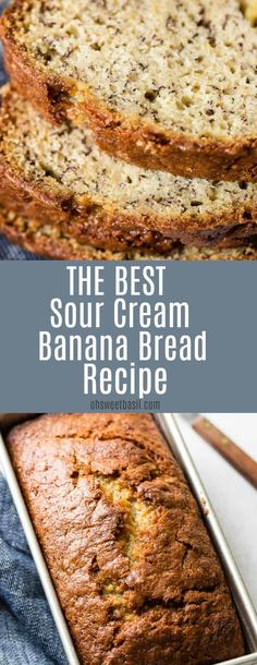 I know you all want the most moist and delicious bread recipe, so buckle up for the best sour cream recipe ever! I know you all want the most moist and delicious banana bread recipe, so buckle up for the best sour cream banana bread recipe ever! Basil Bread Recipe, Easy Bread Recipes, Banana Bread Recipes, Carrot Bread Recipe Moist, Gluten Free Banana Bread, Banana Nut Bread, Healthy Banana Bread, Banana Muffins Recipe Sour Cream, Sour Cream