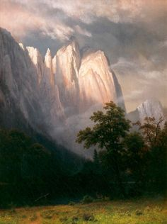 Cathedral Rock, Yosemite  1870  By Albert Bierstadt