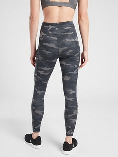 Ultimate Stash Pocket Camo 7/8 Tight | Athleta Black And White Leggings, Fitness Activities, Camo Print, Petite Size, Trousers Women, New Product, Heather Grey, Tights, Plus Size