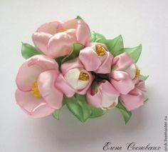 """Купить заколка """"Яблоневый цвет"""" - розовый, канзаши, цветы ручной работы, яблоневый цвет"""