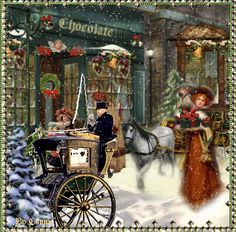 Last Minute Christmas Shopping Christmas Scenes, Noel Christmas, Victorian Christmas, Retro Christmas, Christmas Shopping, Christmas Cards, Animated Christmas Pictures, Xmas Gif, Fantasy Art Landscapes