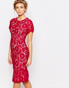 Image 1 of Coast Marlia Lace Pencil Dress in Raspberry