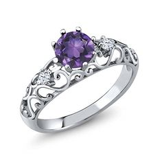 0.78 Ct Round Purple Amethyst 925 Sterling Silver Gemstone Birthstone Women's Ring (Available in size 5, 6, 7, 8, 9) >>> More details @