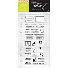 Hero Arts Kelly Purkey Appointment Planner Clear Stamp Set These clear stamps peel off their backing and stick to any acrylic block making for easy stamping. Simply apply your favorite ink and stamp crisp clear images! They are made from 100% photo-polymer which is latex free, phthalate free, non-toxic and biodegradable. Available in a variety of designs (each sold separately). This package contains Appointment Planner: a set of thirty-five clear stamps on one 6x2- 3/4 inch backing sheet…